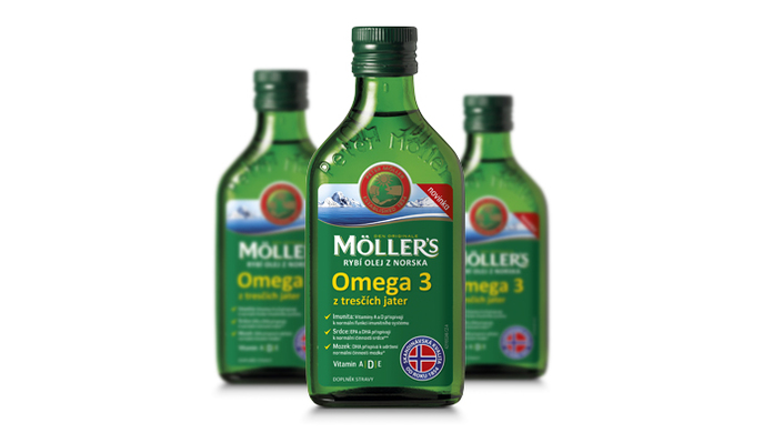 Rybí olej z tresčích jater z Norska Mollers Omega 3 - Möller´s